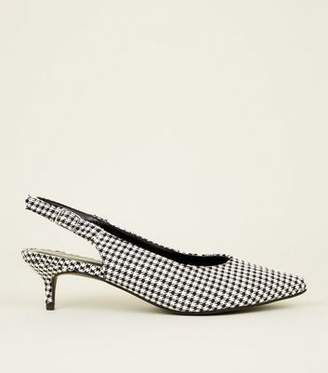 a7c42fd947d New Look Black Houndstooth Check Slingback Kitten Heels
