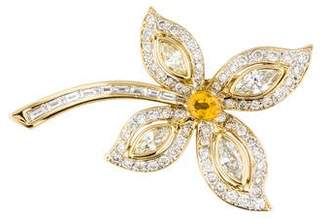 18K Yellow Sapphire & Diamond Flower Brooch