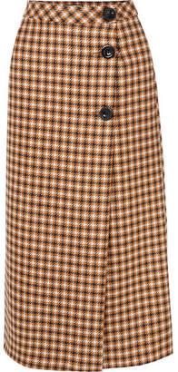 Paul & Joe Cameron Houndstooth Wool Midi Skirt - Brown