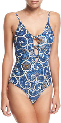 Fuzzi Crisscross Floral-Print One-Piece Swimsuit