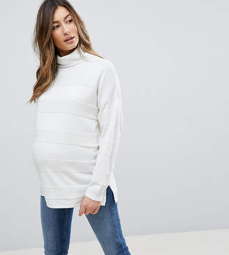 Asos DESIGN Maternity sweater with high neck and stripe ripple stitch