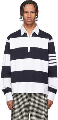 Thom Browne Navy and White 4-Bar Oversized Long Sleeve Polo