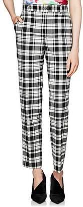 Balenciaga Women's Plaid Flannel Straight Trousers - White