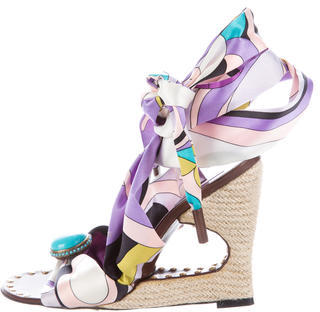 Emilio PucciEmilio Pucci Satin Wedge Sandals