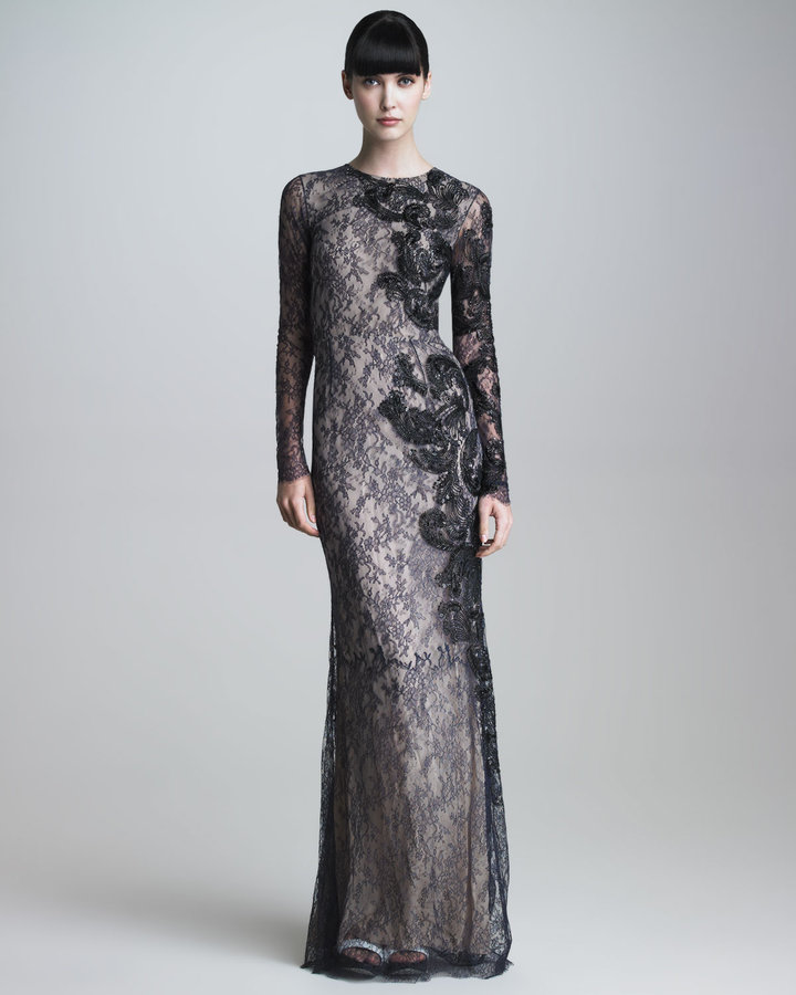 Jason Wu Long-Sleeve Embroidered Lace Gown