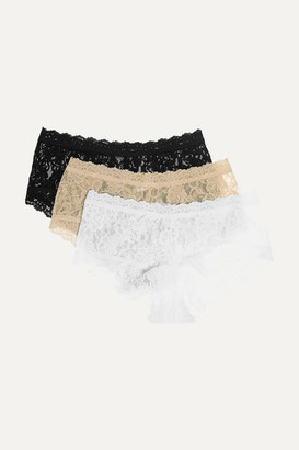Hanky Panky Signature Set Of Three Stretch-lace Boy Shorts - Black