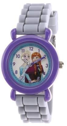 Disney Frozen Elsa & Anna Girls' Purple Plastic Time Teacher Watch, Gray Silicone Strap