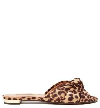 Aquazzura Menorca Knotted Leopard Print Twill Slides - Womens - Leopard
