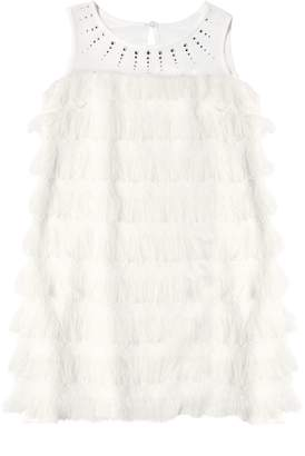 MonnaLisa Fringed Georgette & Milano Jersey Dress