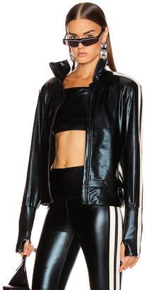 Norma Kamali Engineered Side Stripe Jacket in Black Foil | FWRD
