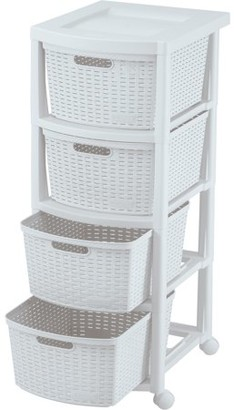 Rimax Casual White Four Drawer Rolling Cart