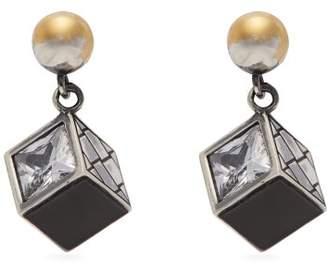 Bottega Veneta Sterling Silver Cube Drop Earrings - Womens - Silver