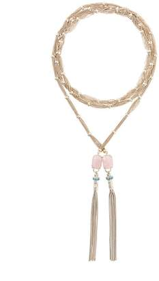 Iosselliani Elegua rose quartz scarf necklace