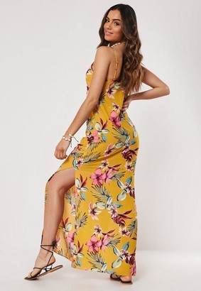 Missguided Yellow Floral Strappy Side Split Maxi Dress