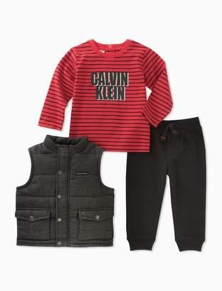 Calvin Klein baby boys 3-piece padded vest jogger set