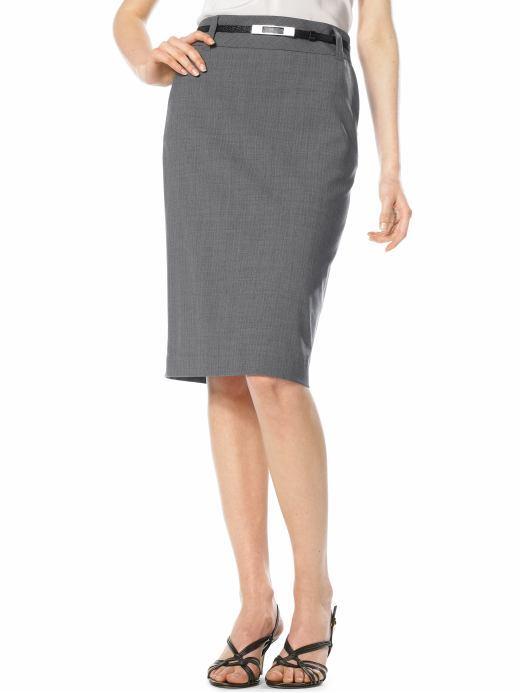 Petite high-waisted pinstriped pencil skirt
