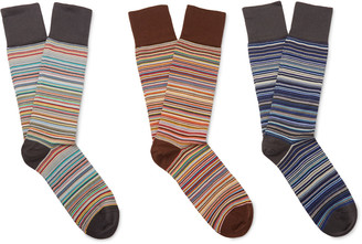 Paul Smith Three-Pack Striped Stretch Cotton-Blend Socks $75 thestylecure.com