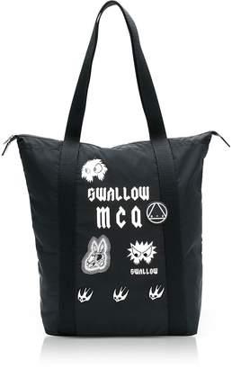 McQ Sponsorship Black Nylon Shopper Bag w/ Badges