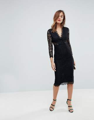 Asos Design Long Sleeve Lace Midi Pencil Dress