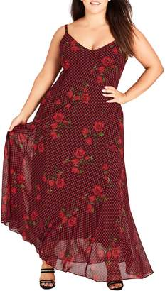 City Chic Gingham Poppy Maxi Dress