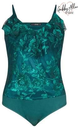 Quiz Emerald Green Floral Sequin Frill Bodysuit