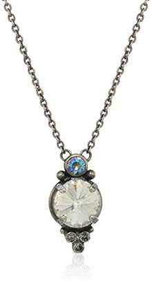 Sorrelli Core Antique Silver Tone Crystal Rock Radiant Round Pendant Necklace