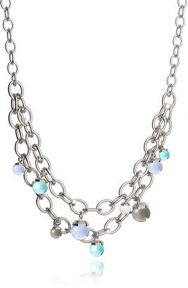 Rebecca Hollywood Stone Rhodium Over Bronze Chains Necklace w/Hydrothermal Stones