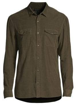 John Varvatos Fine-Ribbed Snap Button Shirt