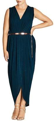 City Chic Plus Pleated Velvet Maxi Dress