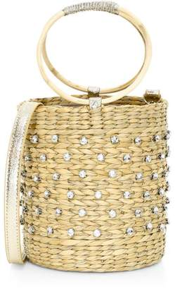 Poolside The Bobbi Crystal-Embellished Straw Bucket Bag