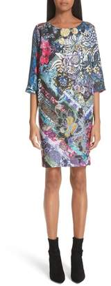 Fuzzi Floral Patchwork Print Tunic Dress