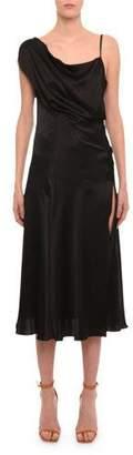 Versace One-Shoulder High-Slit Midi Cocktail Dress