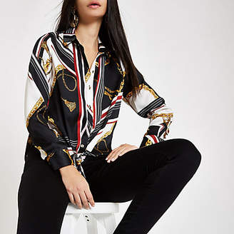 River Island White chain print tie front shirt