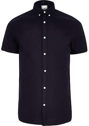 River Island Navy embroidered short sleeve Oxford shirt
