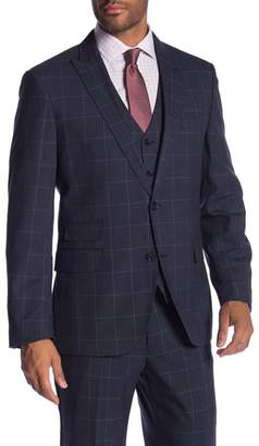 Co SAVILE ROW Eaton Blue Windowpane Two Button Peak Lapel Modern Fit Jacket