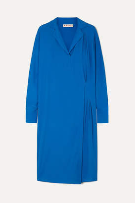 Marni Pleated Crepe De Chine Midi Dress - Blue