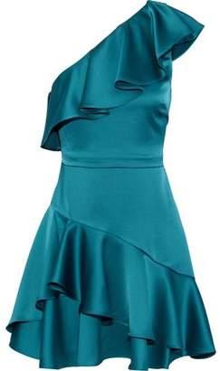 Halston One-Shoulder Ruffled Satin Mini Dress