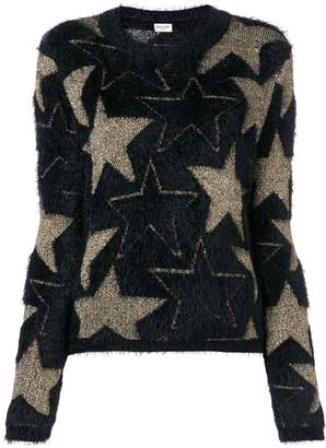 Saint Laurent star motif textured jumper