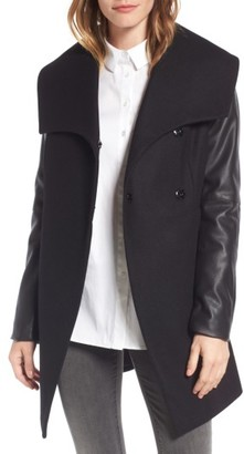 Women's Laundry By Shelli Segal Faux Leather Sleeve Wool Blend Coat $168 thestylecure.com