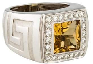 Versace 18K Citrine & Diamond Ring
