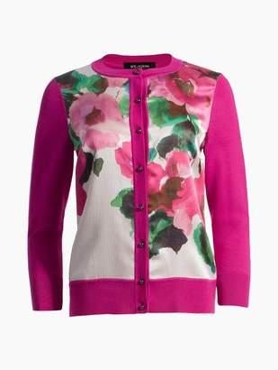 St. John Blossom Floral Print Merino Jersey Knit Cardigan