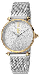 Just Cavalli 32mm Animal Glitter Watch w/ Mesh Strap, Two-Tone