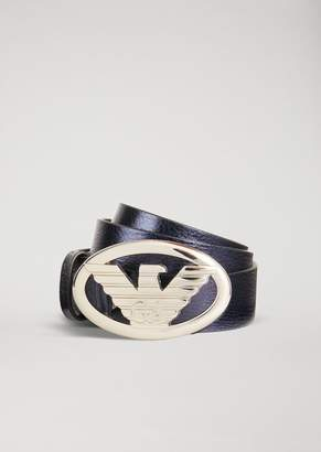 Emporio Armani Belt In Laminated Leather With Large Logo Buckle