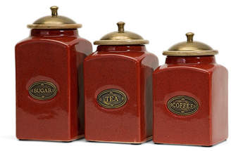 Imax Red Ceramic Canisters - Set of 3