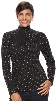Croft & Barrow Women's Long Sleeve Mockneck Top