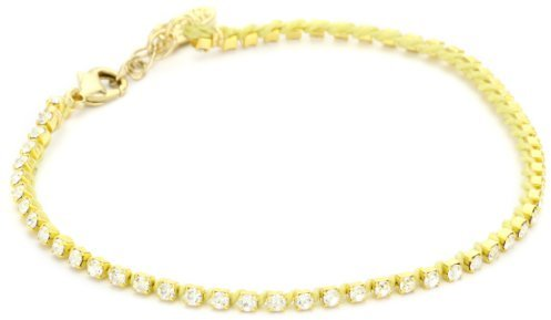 Ettika Gold Colored Small Rhinestone Light Yellow Tennis Anklet