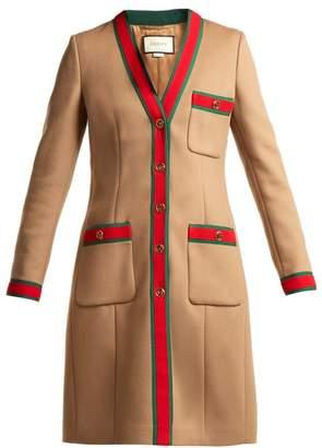 Gucci Web Stripe Wool Coat - Womens - Brown
