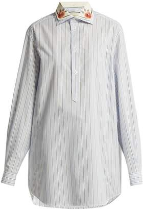 Gucci Double-collar striped cotton shirt