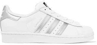 adidas Originals - Superstar Metallic-trimmed Leather Sneakers - White $80 thestylecure.com