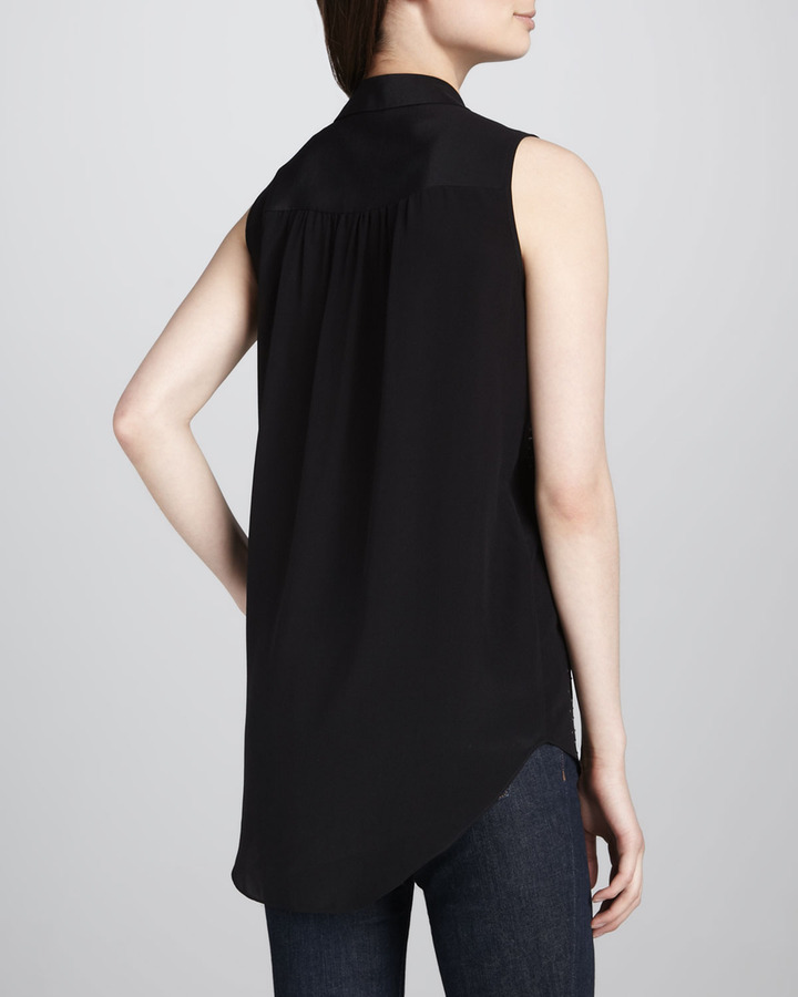 Rebecca Taylor Sleeveless Stud-Front Top